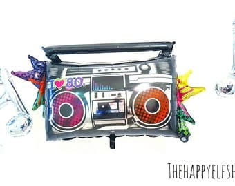 "Huge 35"" Boombox balloon. 80's party. 80's party decor. Boombox. Decade parties. 80s party decor. 80s party. Boombox. 80s. I love the 80s"