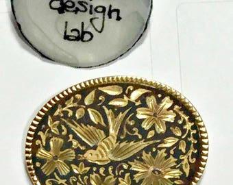 Brooch vintage damascene gold 24kt