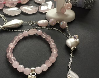 Necklace Set, Rose Quartz Bracelet, Silver Necklace, Rose Quartz Earrings Set,