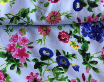 Blue Floral Fabric, Indian fabric, SS17, Watercolor print, vignette flowers, fabric by the Yard, fashion forecast fabric, floral print