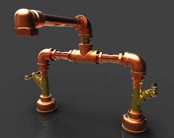 "Copper and Bronze Bathroom Faucet 8"""