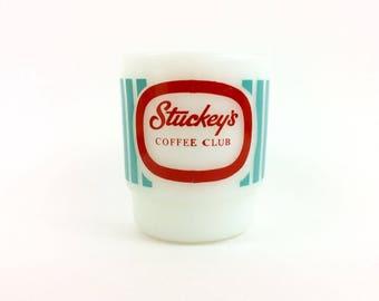 Fire King Stuckey's Coffee Club Mug-Advertising Milk Glass Mug-Anchor Hocking Mug