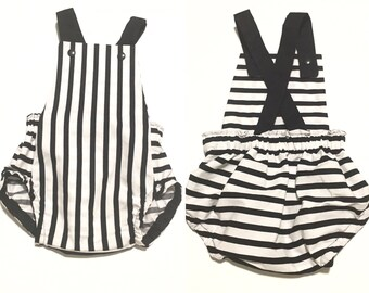 Striped Baby Romper, Black and White Romper, Halloween, Toddler Romper, Baby Rompers, Summer Romper, Newborn Romper