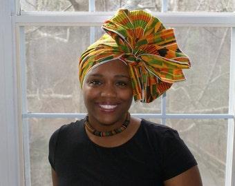 Kente Headwrap, African Head Wrap, Head Tie, Black History, African Clothing, African Print