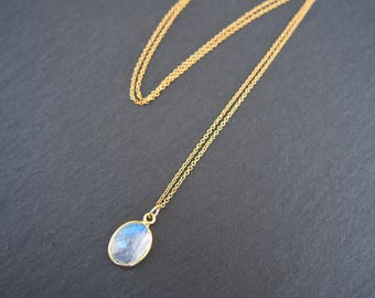 Moonstone Necklace // Oval moonstone