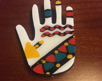 Original Hand Brooch, Hand Painted Jewelry, Hand Pin, Hand Jewelry, Hand Painted Brooch, Wooden Jewelry