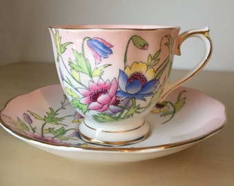"Royal Albert Pink ""Gloria"" Teacup and Saucer, Hand Painted Flower Tea Cup and Saucer, Floral Bone China, Pink Ombre, 1940s"
