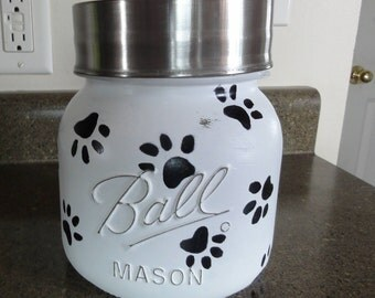 Dog Treat Jar, Dog Treats, Dogs Gifts, Dog Gift Basket, Dog Grandma, Mason Jar Decor, Painted Mason Jar, Pet treat Jar, gift For Pet Lovers