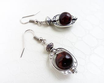 Earrings 'Zoey' - Red tiger's eye gemstones and silver beads - Boho chic, statement earrings, gift for her, bohemian - Handmade jewelry