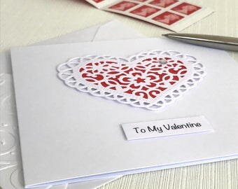 Valentine Card - Valentine's Day Anniversary - Handmade Greeting Card - 3D Heart -  Paper Lace Heart