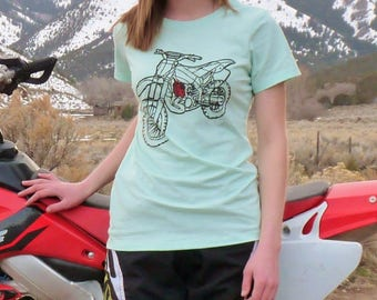 Womens Dirt Bike/Motocross Heart Crew Shirt