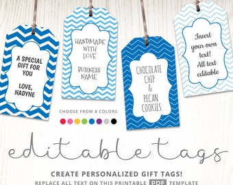 Editable gift tags, gift tag template, text editable, chevron, gift labels, hang tags, luggage tags, party printable digital template