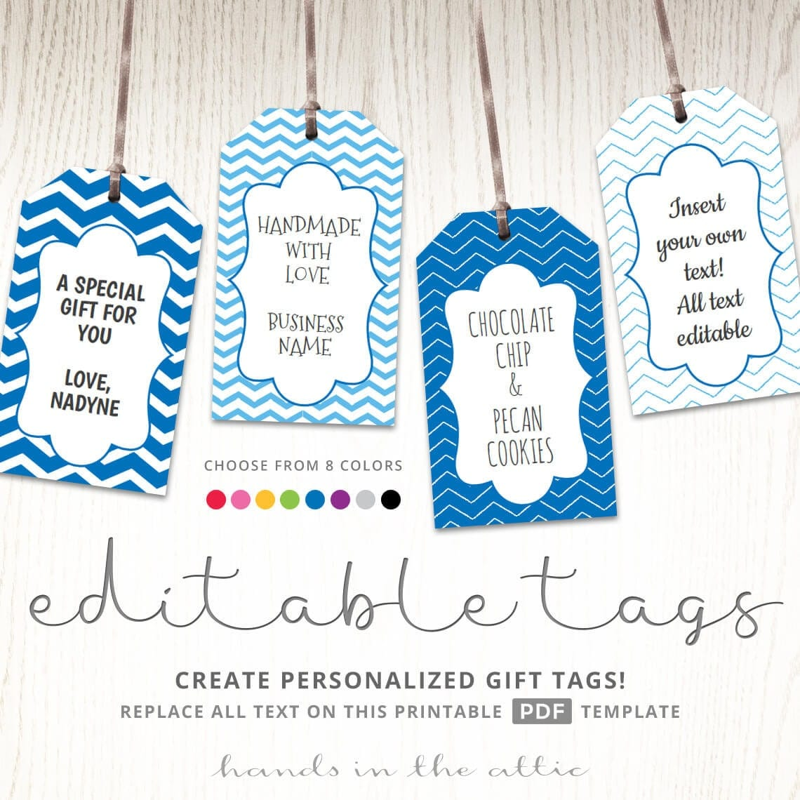 Editable gift tags gift tag template text editable chevron for Goodie bag tag template