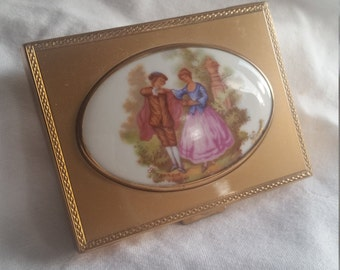 1950s Patrys brass compact with Limoges porcelain Fragonard painting