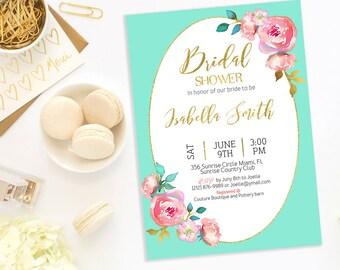 Bridal Shower Invitation Printable Bridal Shower Download Invitation  Bachelorette party Invitation turquoise Bridal Shower Invite idb65