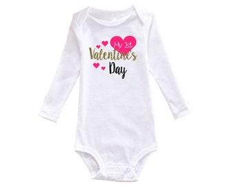 My First Valentines Day - First Valentine's Day - Baby Girl Valentine's Day Outfit - Baby Girl First Valentines Day - Valentine's Day Outfit
