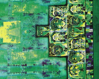"""Ethnic Fabric, Tribal Print, Green Fabric, Sewing Craft, Dress Fabric, Home Decor Cotton Fabric, 45"""" Inch Fabric By The Yard ZBC7108A"""