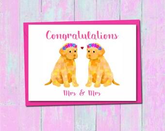 Lesbian wedding card, Bride and bride labrador card, Mrs and Mrs wedding card, Cute dog wedding card, Dog love card, Lesbian engagement card