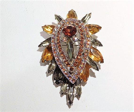 Verified Juliana DeLizza Elster D & E  BOOK Piece Vintage Mid Century 1960s 60s Rhinestone Brooch Pendant Fashion Jewelry AB Aurora Borealis