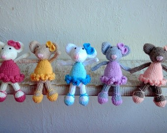New Crocheted Ballerina Mice Mouse Amigurumi Pink Ballerina Angelina Ballerina Yellow Blue Purple Mouse Toy White Mouse Brown Mouse Grey