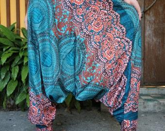 Flower Harem Pants Drop Crotch Style Festival Pants Women Emerald