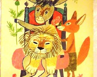 Vintage 1970s Eastern European-Hungarian Children's Book Illustration Book Page- The Donkey King- Framing- Retro Paper Ephemera