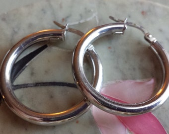 Vintage 14k White Gold Hoop Earrings 14k WG Hoops