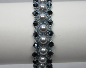 Silver and Ice Blue Crystal and Pearl Bracelet