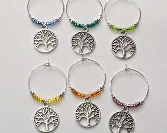 Tree of Life Wine Charms, Tree of Life Wine Glass Markers