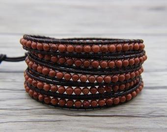 Goldstone bead bracelet Bead leather wrap bracelet BOHO bead wrap bracelet OM Charm bracelet cuff wrap bracelet Friendship bracelet SL-0547