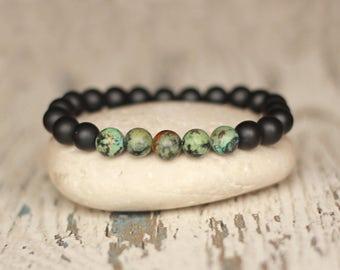 his bracelet Turquoise groom gifts guys Men african turquoise boho gemstone Beads Bracelet stones stretch bracelet beaded jewelry 8mm Women