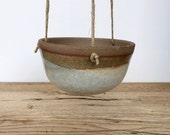 Handmade gas fired hanging ceramic planter for indoor or outdoor. Plant pots.