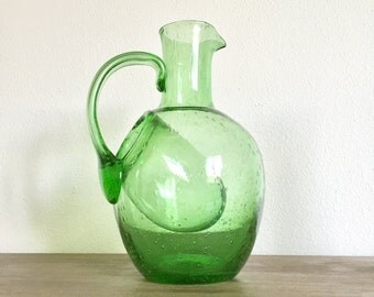 BIOT Green Glass Pitcher with Ice Trap; BIOT France; Vintage Glass Pitcher; Pitcher with Ice Trap