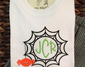 Spider Web Embroidered Tshirts, Boys or Girls, Long or Short Sleeve, includes Personalization