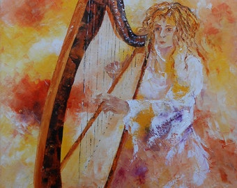 """Painting """" The player of Harp """""""