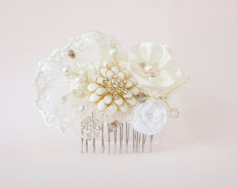 Ivory and Gold Beaded Hair Comb with Ribbon flowers and Freshwater Pearls