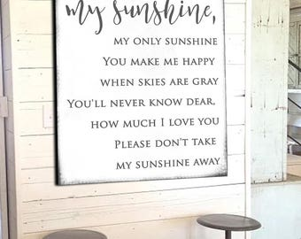 You Are My Sunshine Modern Farmhouse Wall Decor Fixer Upper Wall Art GIft for Her Modern Farmhouse Signs Farmhouse Decor Home Decor Canvas