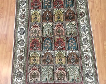 "2'7"" x 4' Persian Qum Oriental Rug - Very Fine - Hand Made - 100% Silk"