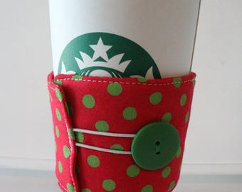 Environmentally Friendly, Reusable Fabric Insulated Coffee Sleeve - Red with Green Polka Dots and Green Button