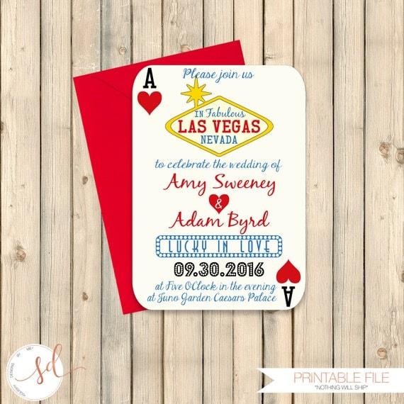 Las Vegas Wedding Invitation Wording: Las Vegas Wedding Invitation Poker Playing Card Vegas Wedding