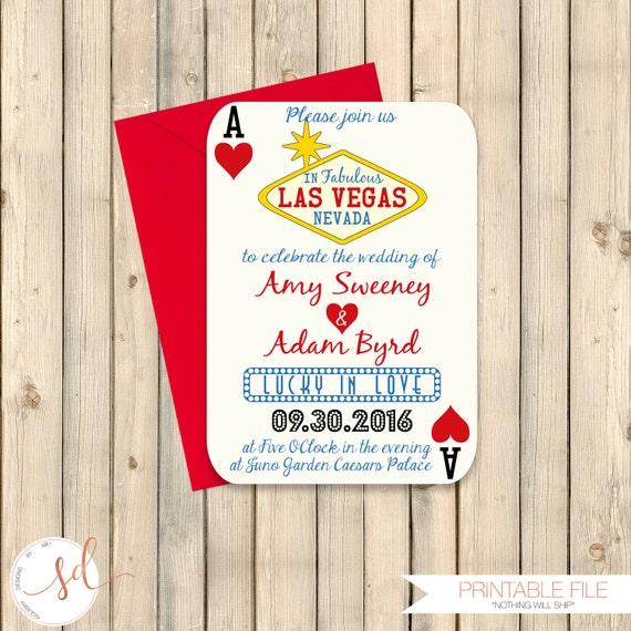 Casino Wedding Invitations: Las Vegas Wedding Invitation Poker Playing Card Vegas Wedding