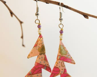 """Triangles Pink salmon studded"" origami earrings"
