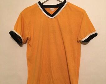 Vintage 90s Orange/Yellow Bombay Ventura California V Neck Ringer T Shirt Size Large