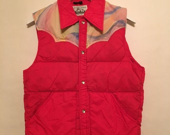 Vintage 90s Woolrich Red Rainbow Goose Down Vest Size Small