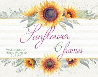 Watercolor Flower clipart - Sunflower... frames, Hand painted , DIY Clip Art, greeting card, wedding invitations, Scrapbooking, png file