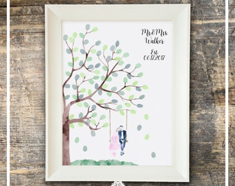 Wedding Guest Book Watercolor Fingerprint Guest Book - Tree Swing Wedding Couple - Guest Book And Ink Pad Fingerprint Tree Wedding Tree Book