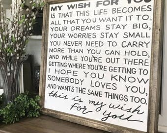 """My Wish For You Song Lyrics 28"""" x 28"""" Wood Framed Sign"""