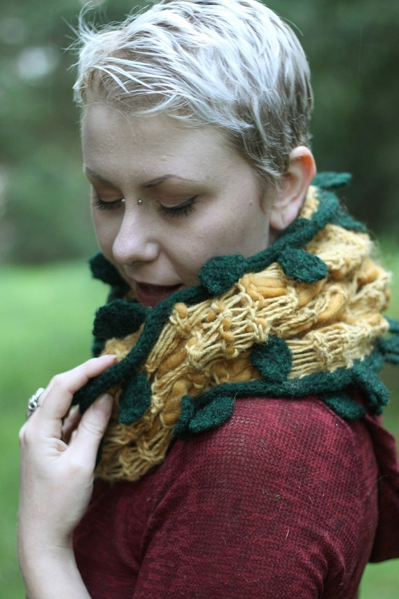 Knit woodland chunky mustard yellow cowl/hood with wet-felted leaves and vines for your inner sprite.