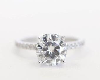 Round Engagement Ring, Wedding Ring, Gold Ring, Diamond Ring, Moissanite Ring, Bridal Ring