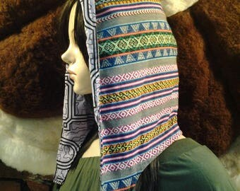 Fair Trade, Peruvian Manta, Reversible Shipibo Fire Hood